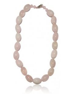Collier quartz rose pierres tambour