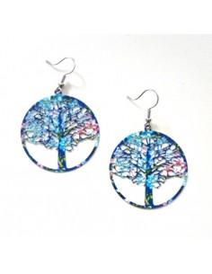 Boucles d'oreilles créoles motif arbre de vie coloré 5 cm
