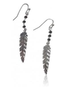 Boucles d'oreilles fantaisie pendantes motifs plumes perles noires