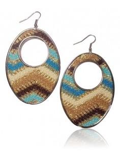 Boucles d'oreilles créoles ovales motifs tissés sur fil