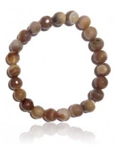 Bracelet agate marron foncé pierres boules facettées 8 mm