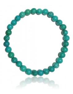Bracelet véritable turquoise verte pierres boules 6 mm