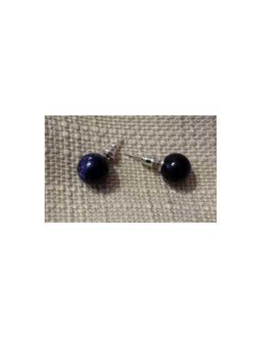 Boucles d'oreilles pierre de soleil noire puces rondes