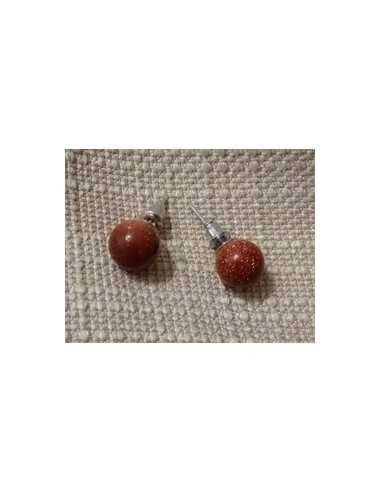 Boucles d'oreilles pierre de soleil marron puces rondes