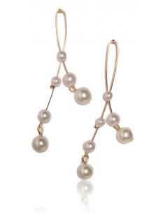 Boucles d'oreilles fantaisie boucle de perles blanches