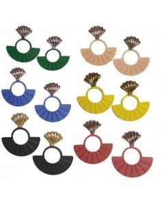 12 paires de boucles d'oreilles éeantails pendantes couleurs