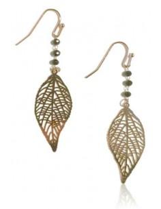 Boucles d'oreilles gouttes feuilles incurvées et perles noires