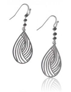 Boucles d'oreilles gouttes pailletées et perles noires