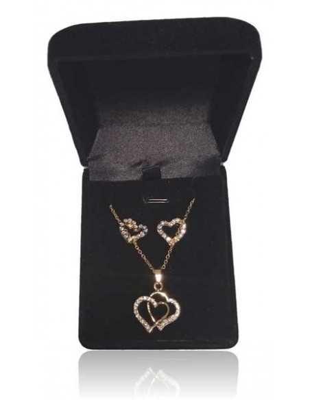 Parure en coffret collier pendentif double coeurs & boucles