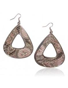 Boucles d'oreilles triangles motif cachemire en tissu
