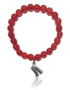 Bracelet cristal de verre rouge facetté 8mm charm argent 925