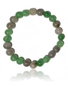 Bracelet labradorite/aventurine pierres boules 8mm