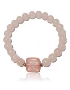 Bracelet quartz rose et quarz hématoide boules 8mm