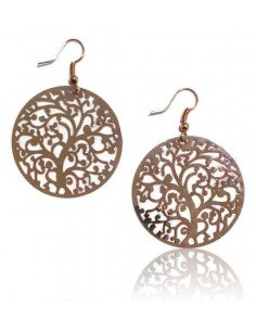Boucles d'oreilles rondes motif arbre filigrane