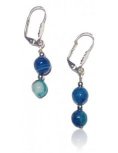 Boucles d'oreilles agate bleue facettées boules pendantes