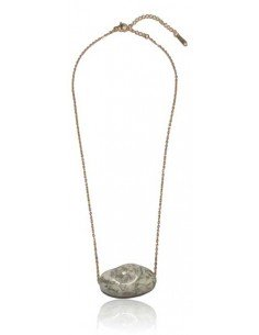 Collier acier inoxydable doré pendentif jaspe