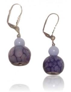 Boucles d'oreilles pierre agate violet fantaisie