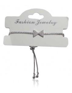 Bracelet argent rhodié 925 motif noeud serti