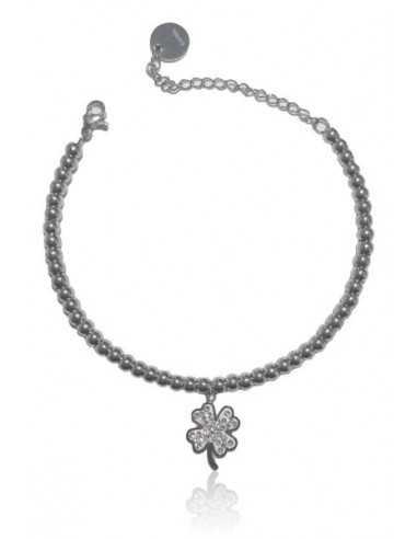 Bracelet acier inoxydable pendentif trèfle serti