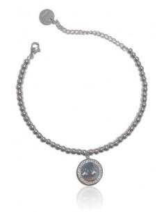 Bracelet acier inoxydable pendentif pattes d'ours serti
