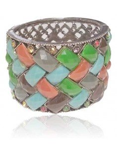 Bracelet manchette large décoré de perles graphiques résine
