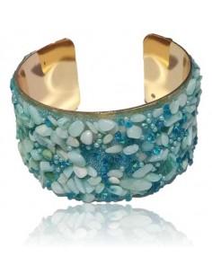 Bracelet manchette décoré de pierres de synthèse bleues