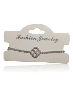 Bracelet argent rhodié 925 motif trèfle serti