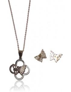 Parure acier inoxydable collier pendentif fleur et papillon + BO