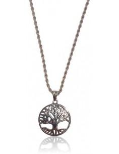 Collier long acier inoxydable pendentif arbre de vie