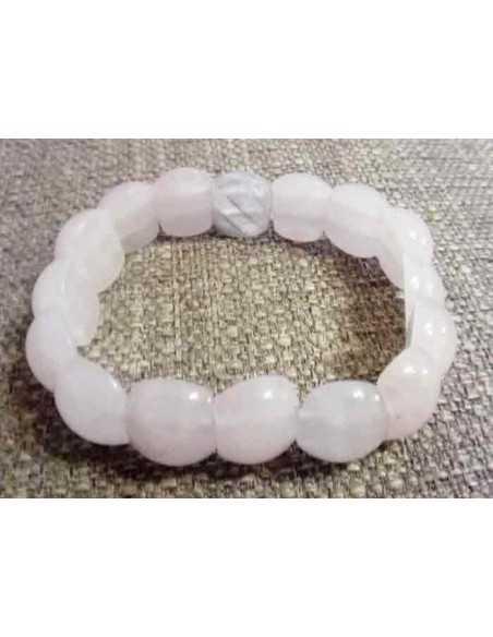 Bracelet quartz rose pierres ovales larges