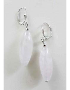 Boucles d'oreilles quartz rose ovales allongées 2.5 cm