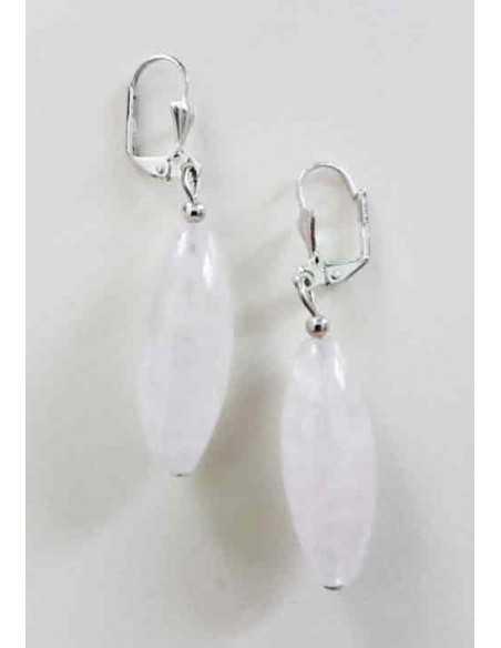 Boucles d'oreilles quartz rose pierre tambour 2.5 cm