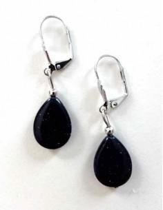 Boucles d'oreilles pierre de soleil noire gouttes 2 cm