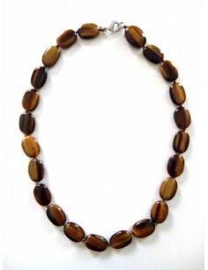 Collier oeil de tigre perles ovales