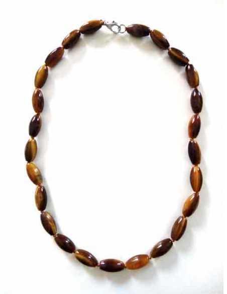 Collier oeil de tigre pierres ovales allongées