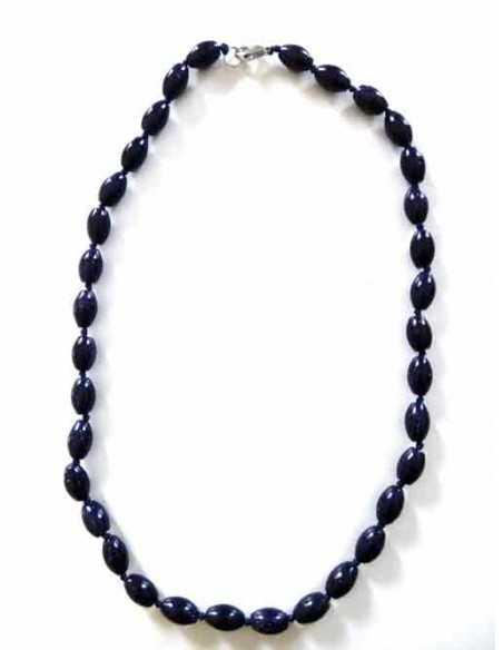 Collier pierre du soleil noir perles tambour