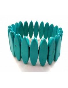 Bracelet turquoise reconstituée pierres ovales allongées