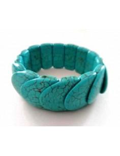 Bracelet turquoise reconstituée pierres pastilles