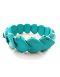 Bracelet turquoise reconstituée pierres coeurs