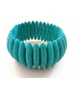 Bracelet turquoise reconstituée pierres allongées