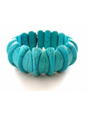 Bracelet turquoise reconstituée pierres géométriques