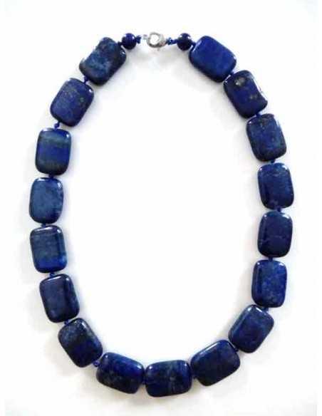 Collier lapis-lazuli pierres carrées