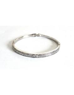 Bracelet jonc avec 2 rangées d'oxydes de zirconium