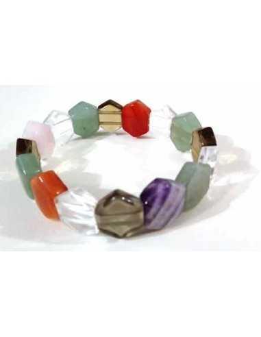 Bracelet chakras pierres naturelles taillées géométriques
