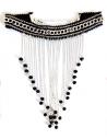 Collier ras de cou ruban noir à franges chaînettes dégradées & perles