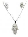 Parure Main de Fatma acier collier & boucles d'oreilles pendentif