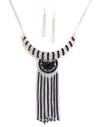 Parure collier à franges & boucles d'oreilles pendantes
