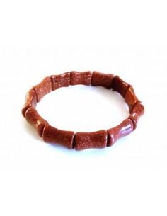 Bracelet pierre du soleil marron perles os