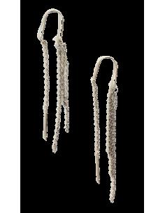 Boucles d'oreilles traversantes chaînette baguette 6 cm