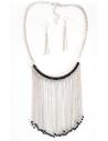 Parure collier à franges chaînes à perles & boucles d'oreilles pendantes